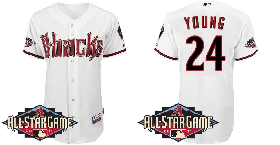 Arizona Diamondbacks All-Star Jerseys #24 Chris Young Authentic Baseball White 44-56