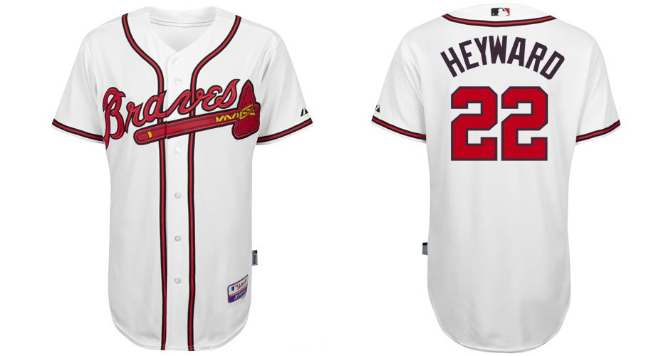 Polyester Atlanta Braves Jerseys #22 Jason Heyward White Baseball Embroidery Jersey