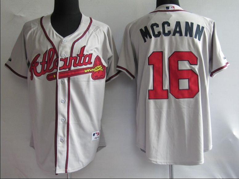 Jerseys Atlanta Braves 16# Mccann Grey