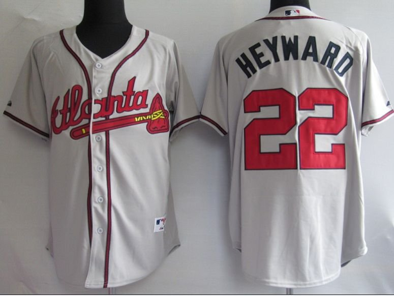 Jerseys Atlanta Braves 22 # Heyward Grey