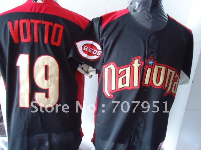 All Star Cincinnati Reds #19 Votto Black Jerseys Size:48-56