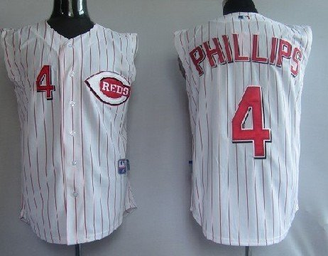 Cincinnati Reds 4# Phillips White Red Stripe Baseball Uniform Jersey Embroidery