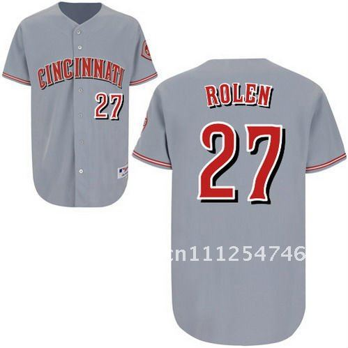 Brand Men's Baseball Jerseys Cincinnati Reds # 27 Scott Rolen Active Grey Softball Jerseys