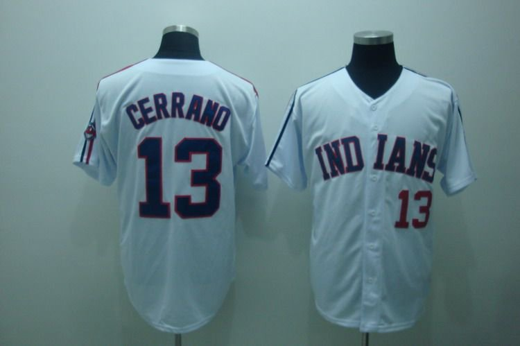 #13 Pedro Cerrano White Jerseys, Cleveland Indians Baseball Jerseys