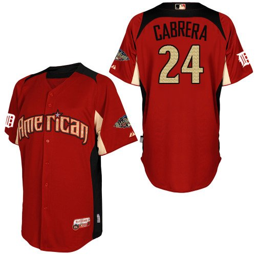 All Star American Detroit Tigers Baseball Jerseys #24 Miguel Cabrera Red With Button Jersey