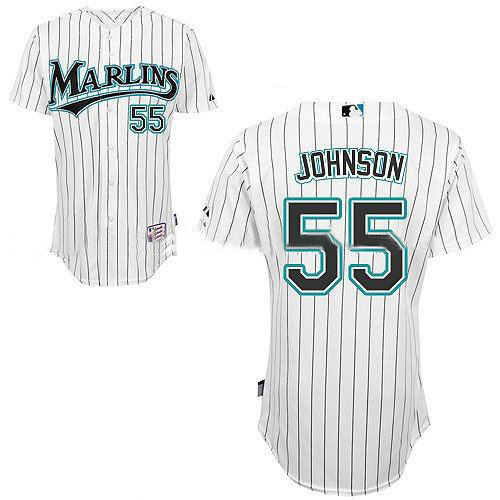2011 Florida Marlins Authentic Jerseys #55 Johnson White Baseball Cool Base Jersey