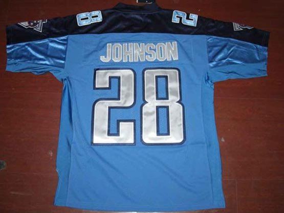 Name and Number are Sewn on Jersey Tennessee Titans Jerseys #28 Chris Johnson Light Blue Football Jerseys