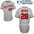 Washington Nationals # 28 Jayson Werth Grey Baseball Jerseys Active Cool Base Outfielder Jerseys