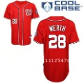 Red Cotton & Polyester With Buttons Nationals Jerseys